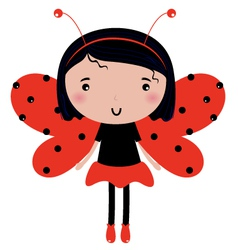 Beautiful Ladybug girl with red dotted wings vector image