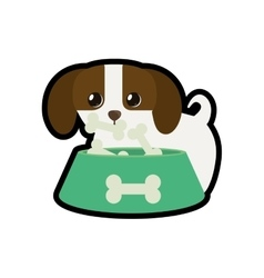 dog little canine adorable bowl food b print vector image vector image