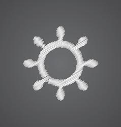 ship wheel sketch logo doodle icon vector image