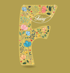 yellow letter f with floral decor and necklace vector image