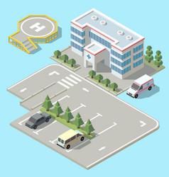 3d isometric hospital ambulance vector image
