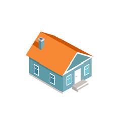 3d model of cozy house exterior design color card vector