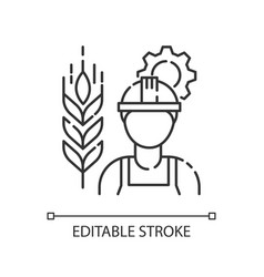 Agricultural engineer pixel perfect linear icon vector