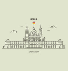 Almudena cathedral in madrid spain vector