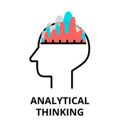Analytical thinking icon flat thin line vector
