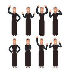 arab woman standing with different hand gestures vector image