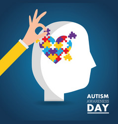 Autism awareness day card health medical vector