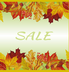 autumn leaves border sale text background vector image