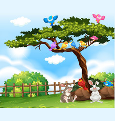 background scene with birds on the tree and vector image