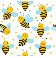 Bee seamles pattern cute flying bees for honey vector