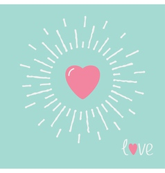 Big pink shining heart and word love Flat design vector