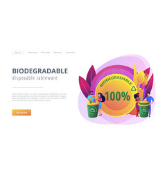 Biodegradable disposable tableware concept landing vector