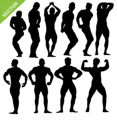 Bodybuilding silhouettes vector image