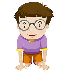 Boy with glasses kneeling down vector