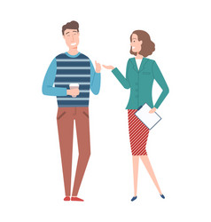 Businesslady in classy clothes and coworker man vector