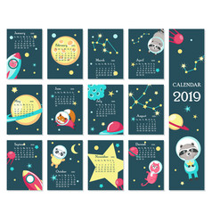Calendar 2019 template with space animals vector