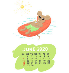 Calendar for june 2020 with a mouse resting vector