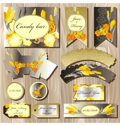 Candy bar wedding design set with iris flowers vector