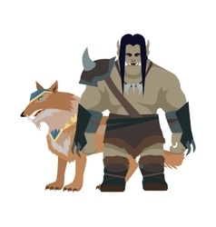 Cartoon Monster Orc Warrior with Wolf Game Object vector image