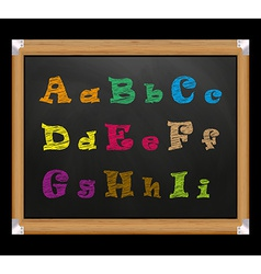 Chalk font on the school board vector image
