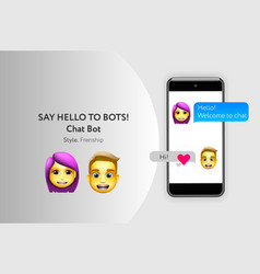 chat bot concept with dialogue windows sms vector image