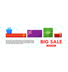 christmas sale banner template with gift boxes vector image