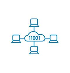 cloud service linear icon concept cloud service vector image