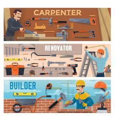 Construction worker banners builders carpenter vector