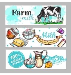 Cow Farm Milk Banner Set vector image