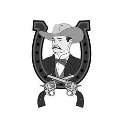 Cowboy Portrait in Horseshoe vector