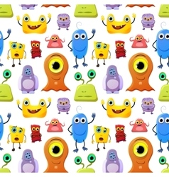 Crowd of cute monsters different colours on white vector image