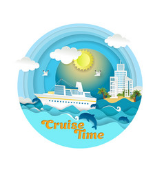 Cruise time paper art style vector