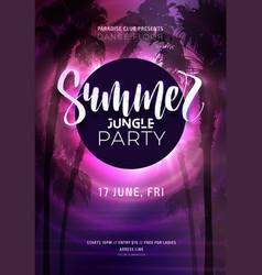 dark purple neon tropical summer party flyer vector image