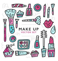 Doodle of girlish cosmetics vector