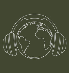 Earth with headphones vector