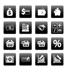Finance icons on black squares vector