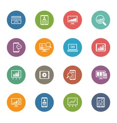 Flat Colored Icon Set vector