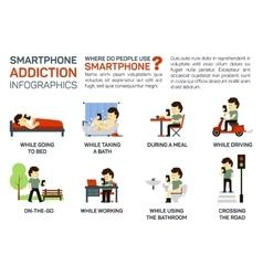 Flat smartphone addiction vector