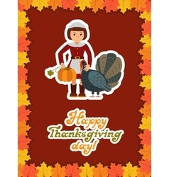 Girl turkey pumpkin Happy thanksgiving day card vector image