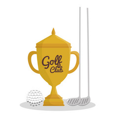 Golf sport trophy emblem icon vector