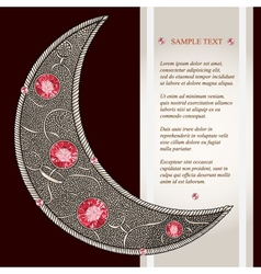 Graphic decorative moon with red rubies with place vector
