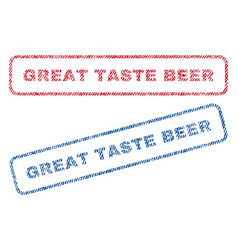 Great taste beer textile stamps vector