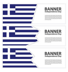 Greece flag banners collection independence day vector