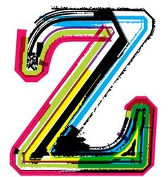 Grunge colorful font Letter z vector