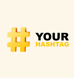 hashtag number mark 3d sign isolated on white vector image