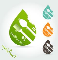 healthy food logo template vector image