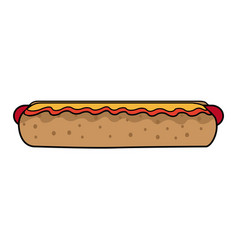 hot dog fast food unhealthy sauce vector image