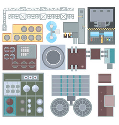 Industrial buildings elements - set modern vector