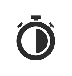 isolated stopwatch icon half past on a white vector image