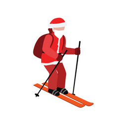 Isometric isolated santa claus skiing christmas vector